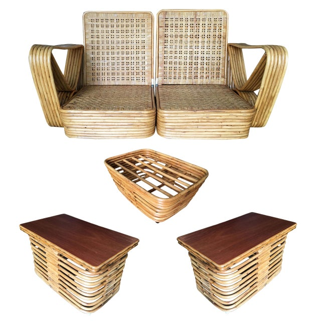 Restored Paul Frankl Six-Strand Wicker Rattan Sofa Living-Room Set W/ Side Table and Ottoman For Sale
