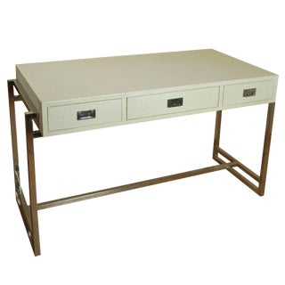 Crocodile Pearl Leather Desk For Sale