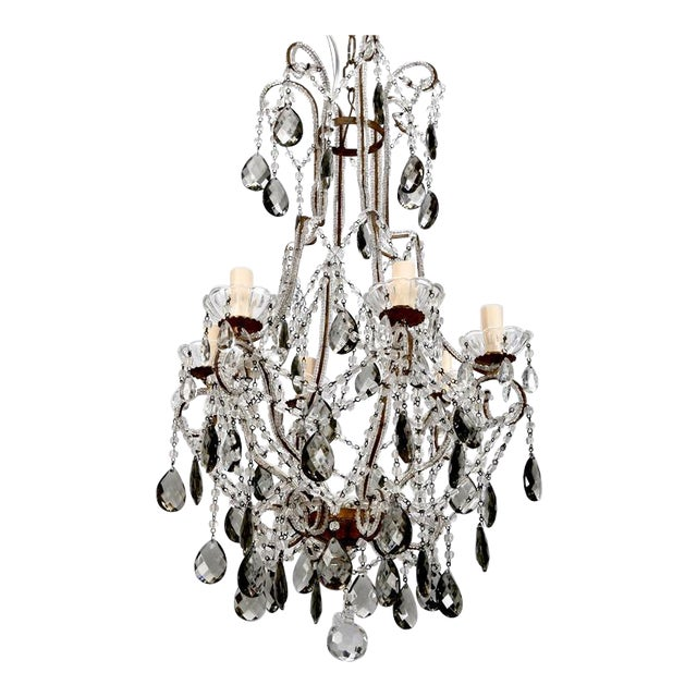 French Six Light All Crystal Beaded Chandelier With Smoke Color Drops - Image 1 of 10