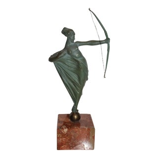 Vintage French Art Deco Bronze Statuette of Diana the Huntress on a Red Marble Base For Sale