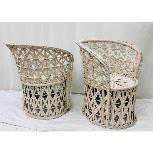 White Pair Boho Chic White Wicker & Rattan Chairs For Sale - Image 8 of 13