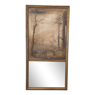 French Trumeau Mirror With Oil Painting on Canvas For Sale