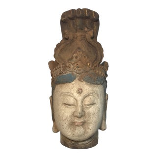 Antique Carved Handpainted Buddha's Head For Sale
