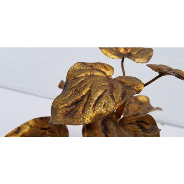 Metal 1960s Vintage Italian Gilded Plant Shaped Table Sculpture For Sale - Image 7 of 8