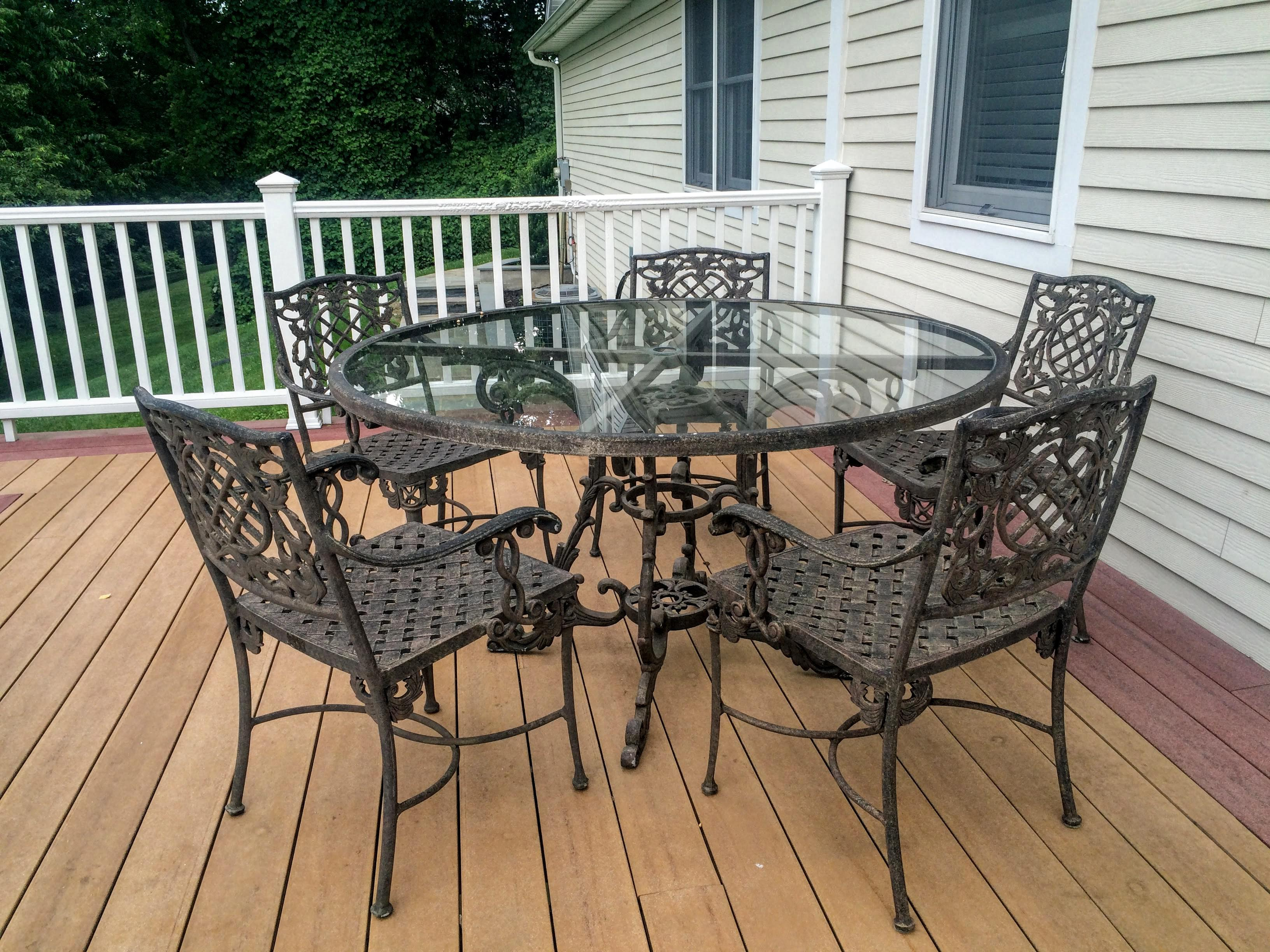 cast classics outdoor table arm chairs set of 6 chairish rh chairish com cast iron classics outdoor furniture Cast Classics Landgrave Replacement Cushions