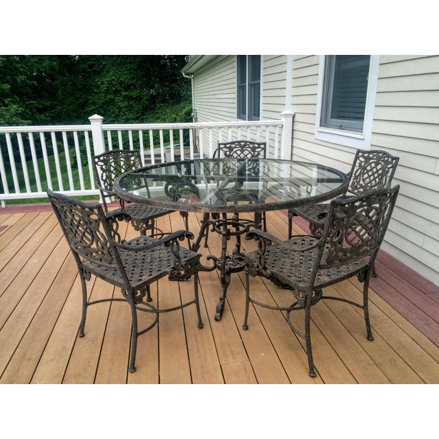 Cast Classics Outdoor Table & Arm Chairs - Set of 6 - Image 2 of 11