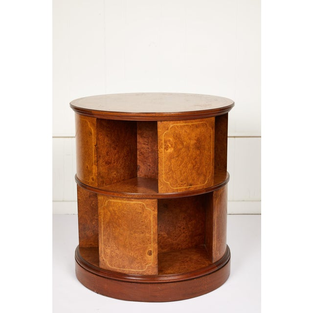 Art Deco Revolving Circular Library Bookcase of Bird's-Eye Maple For Sale - Image 3 of 12