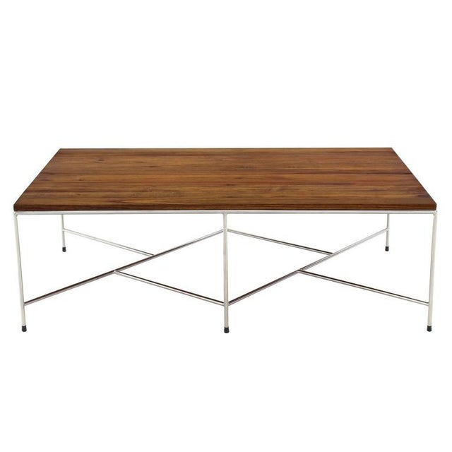 Mid-Century Modern Z Base Stainless Base Wood Top Coffee Table For Sale - Image 10 of 10