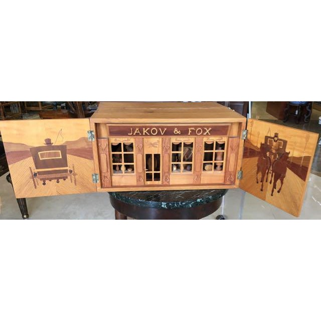 Rustic Hand Carved Wood With Marquetry General Store Model Diorama For Sale - Image 3 of 11