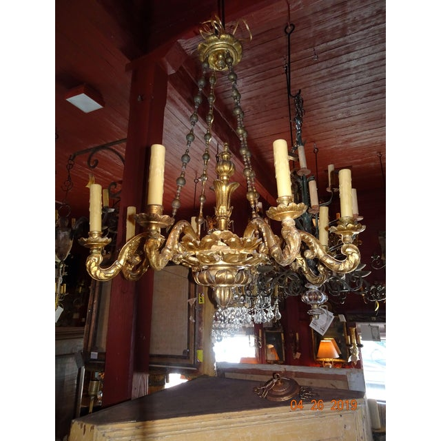 18th Century Venetian Gilt Wood Chandelier For Sale - Image 13 of 13