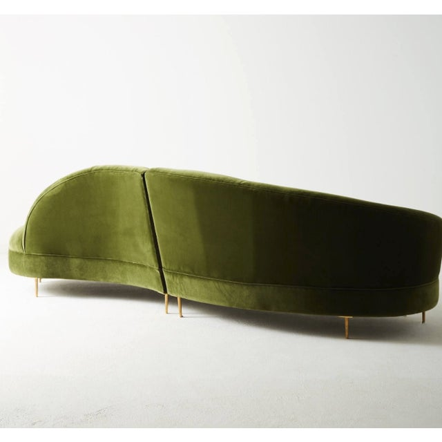 Contemporary Anthropologie Grace Two-Piece Serpentine Sectional in Emerald Velvet For Sale - Image 3 of 7