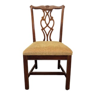 Chippendale Straight Leg Solid Cherry Dining Side Chair by Cresent For Sale