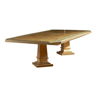 Italian Lacquered Dining Table With Canted Corners For Sale