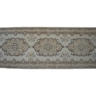 Distressed Oushak Rug Runner Faded Colors Low Pile Long Runner - 2'9″ X 12'7″ For Sale