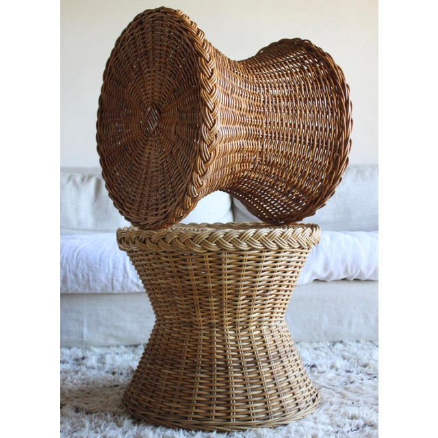 Vintage Mid Century the Wicker Works Rattan Handwoven High End Tulip Side Tables Franco Albini Gabriella Crespi Style - a Pair For Sale - Image 11 of 12