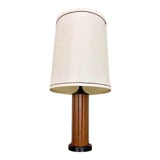 Vintage Mid Century Modern Teak Panel Table Lamp For Sale