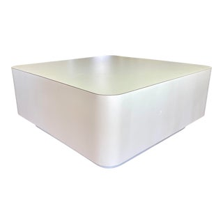 1980s Post Modern Chunky Square White Laminate Plinth Base Coffee Table For Sale