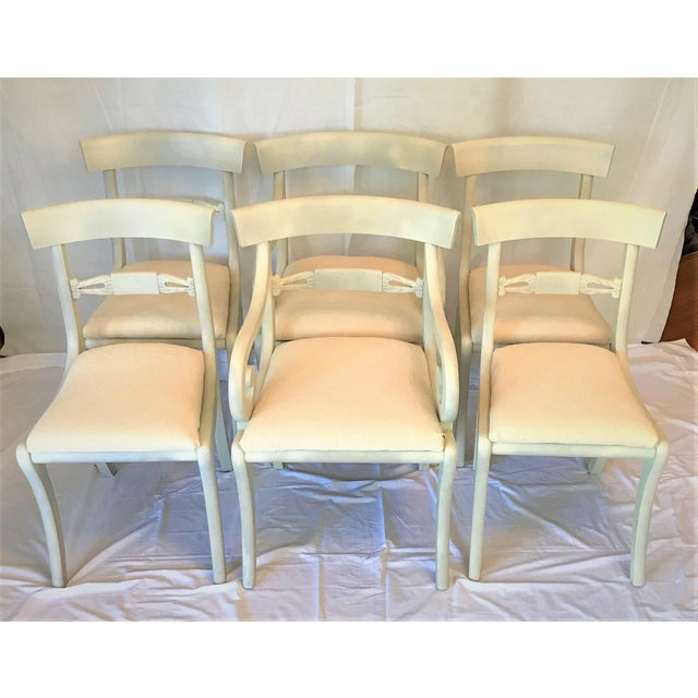 1940s Gustavian Ivory Klismos Dining Chairs - Set of 6 For Sale - Image 10 of 10