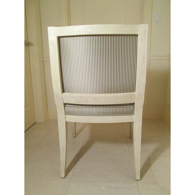 Neoclassical Armchair in Striped Silk For Sale - Image 5 of 11