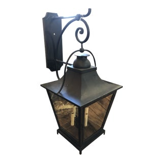 Large Classic Black Iron & Wavy Glass Wall Lantern Sconce For Sale
