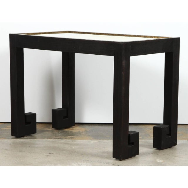 Black Transitional Paul Marra Distressed Greek Key Side Tables - a Pair For Sale - Image 8 of 12