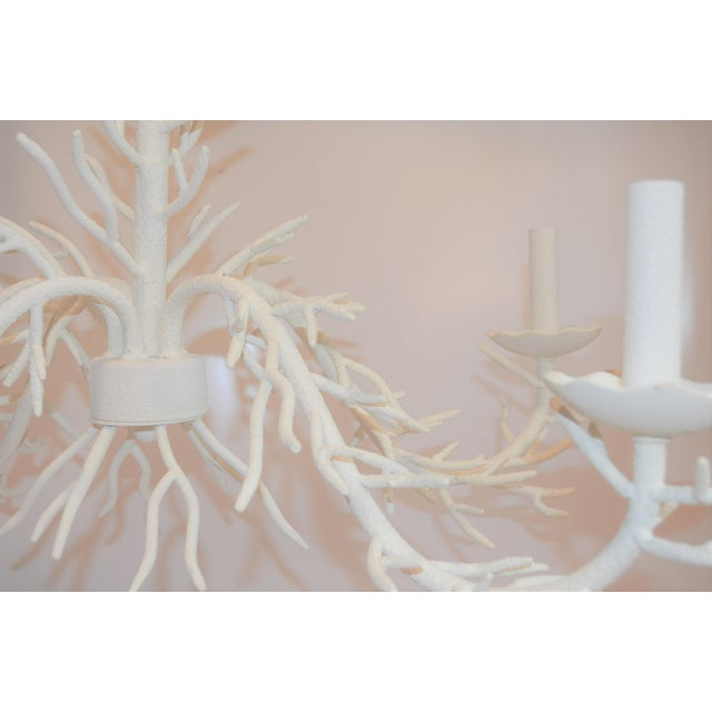 Metal Palm Beach Chic Faux Coral Chandelier, Five Light For Sale - Image 7 of 10