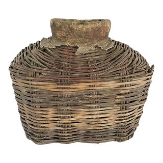 Primitive Handwoven Fish Basket For Sale