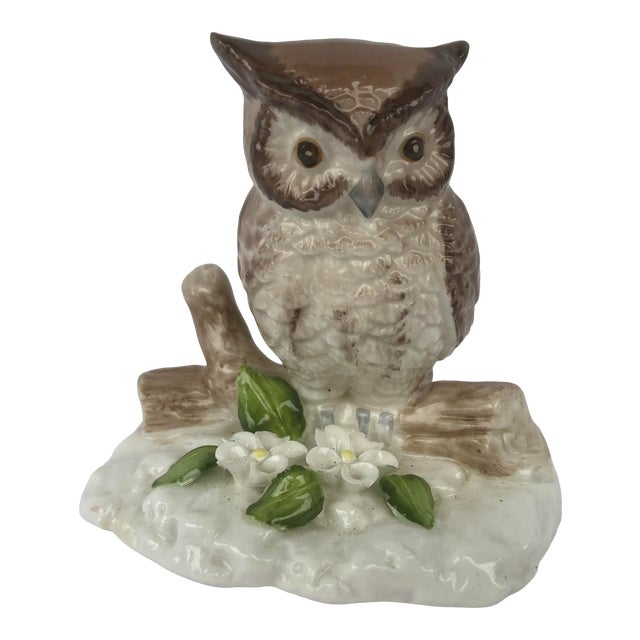 Mid Century Bone China Owl Figurine For Sale
