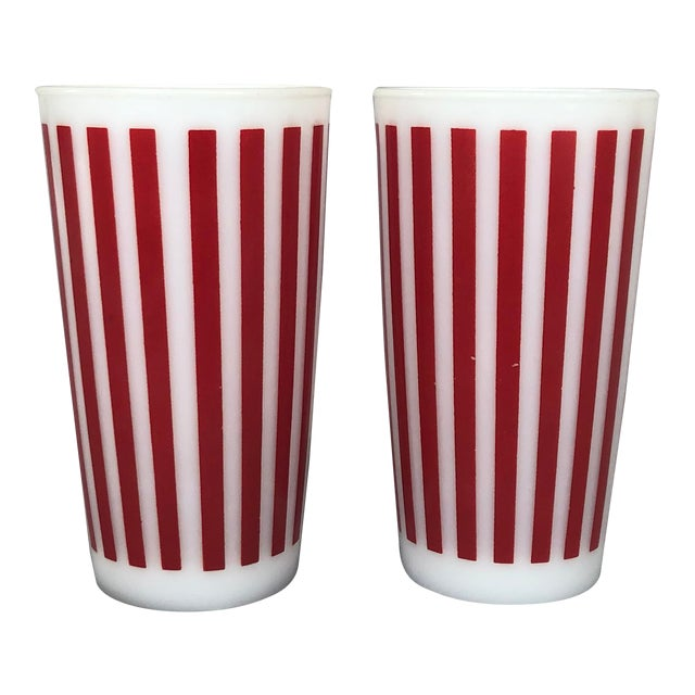 1940s Hazel Atlas Tall Glasses - a Pair For Sale