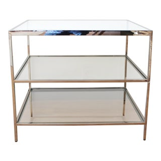 Chrome & Glass Side Table For Sale