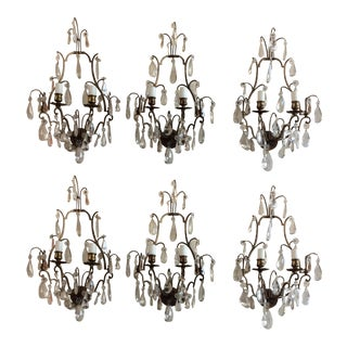 French Bronze and Crystal Wall Sconces - Set of 6 For Sale