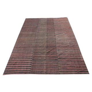 Turkish Vintage Stripes Handmade Flatweave Rug - 6′5″ × 8′11″