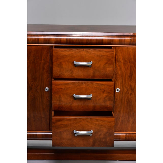 Metal French Art Deco Walnut Sideboard For Sale - Image 7 of 13
