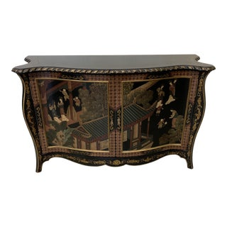 Asian Style Credenza Server Black Lacquer For Sale