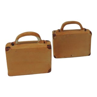 Pair of Orange and Brown Bisque Porcelain Trendy Handbags Salt and Pepper Shakers For Sale