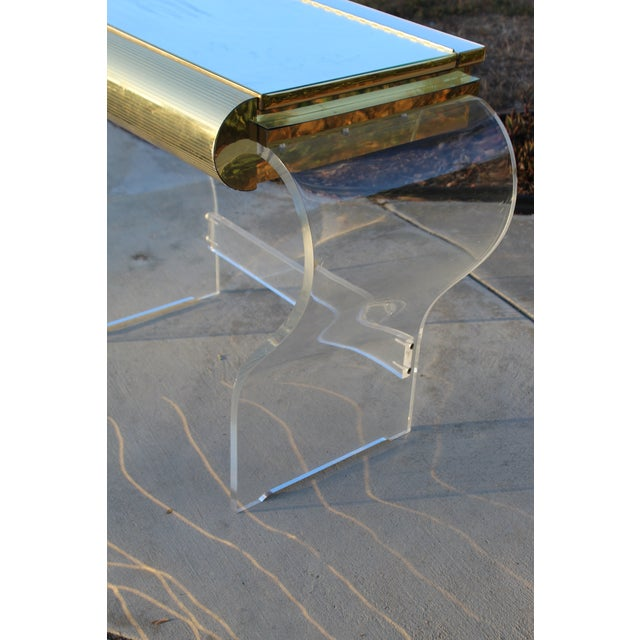 Mid Century Modern Gold and Lucite Vanity For Sale - Image 9 of 10