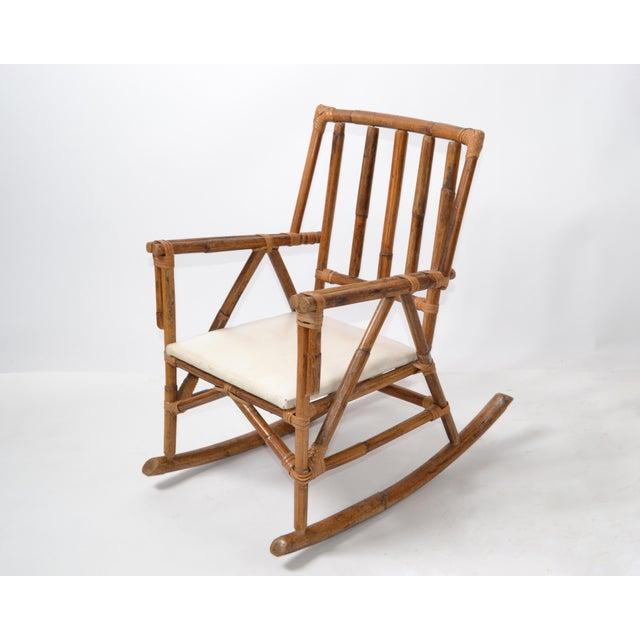Mid-Century Modern Boho Style Bamboo & Vinyl Children Rocking Chair For Sale - Image 11 of 13