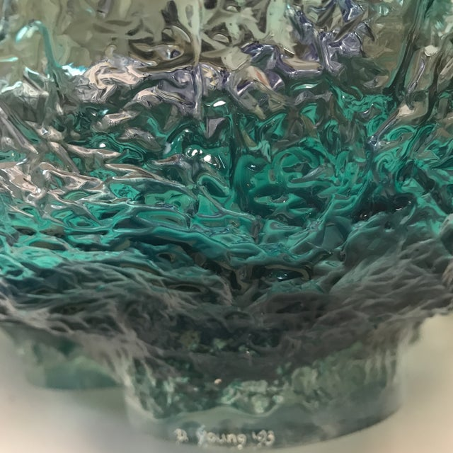D. Young Large Lucite Blue Bowl For Sale - Image 9 of 11