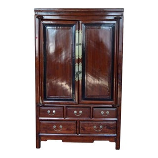 Antique Blackwood and Rosewood Lacquered Cabinet from 19th Century China