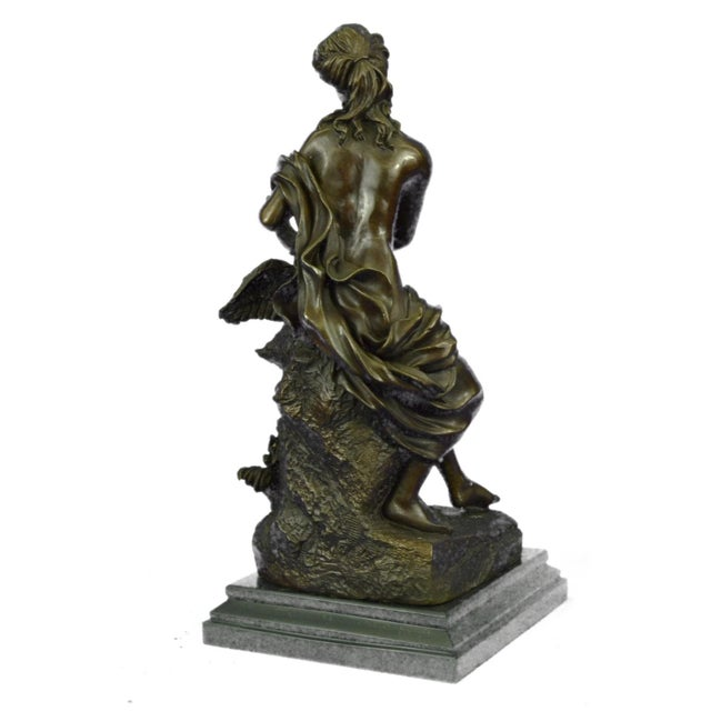 Nude Woman and Swan Statue on Marble Base Sculpture - Image 5 of 9