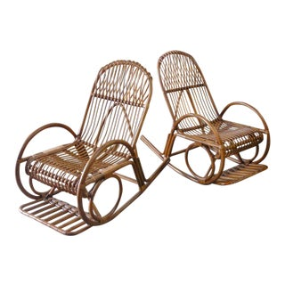 Albini Style Rattan Rockers - a Pair For Sale