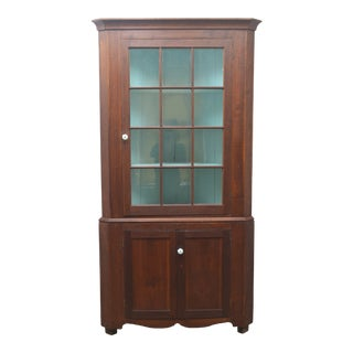 19th Century Antique Pine China Cabinet For Sale