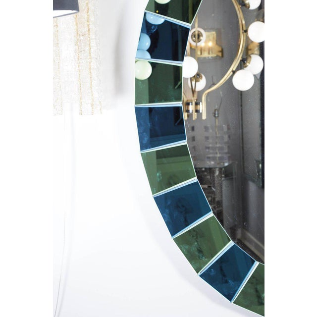 Mid-Century Modern Custom Oval Mirror with Blue and Green Beveled Mirror Squares Surround For Sale - Image 3 of 7