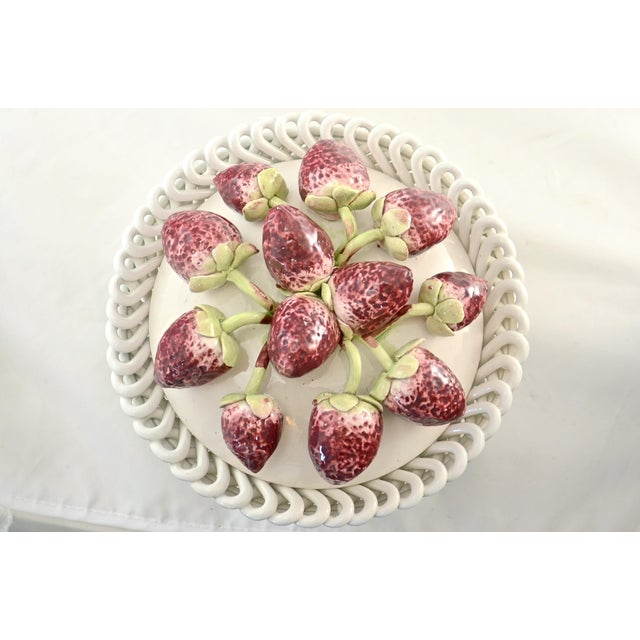 Cottage Italian Ceramic Strawberry Top Box For Sale - Image 3 of 9