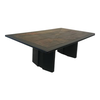 Mid-Century Modern Design Slate Stone Coffee Table For Sale