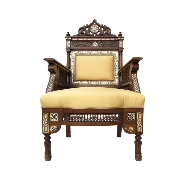Museum Piece 19th C Middle Eastern Armchair W/Mother Pearl For Sale