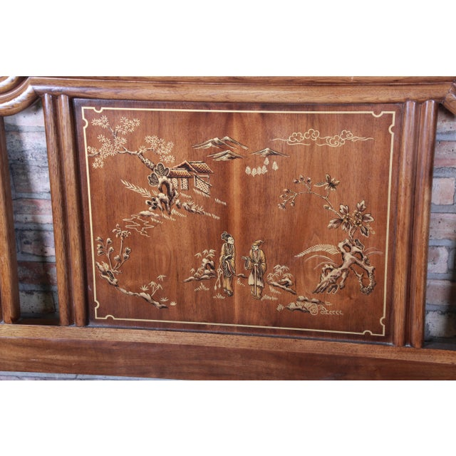 Drexel Heritage Drexel Heritage Hollywood Regency Chinoiserie King Size Headboard For Sale - Image 4 of 10