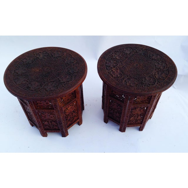 Anglo-Indian Anglo-Indian Rosewood Elaborately Carved Tables - Pair For Sale - Image 3 of 6
