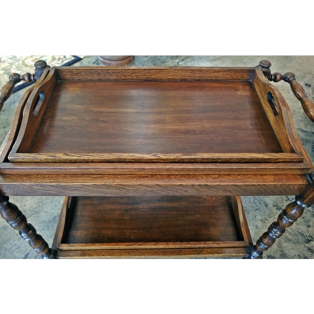 19c British Provincial Oak Butlers Tray Stand With 3 Trays For Sale - Image 10 of 13