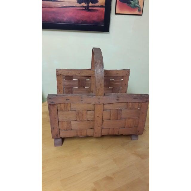 Early 20th Century Antique Split Oak Fireside Basket For Sale - Image 4 of 9